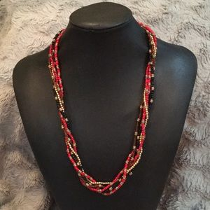 Red, black and gold bead necklace
